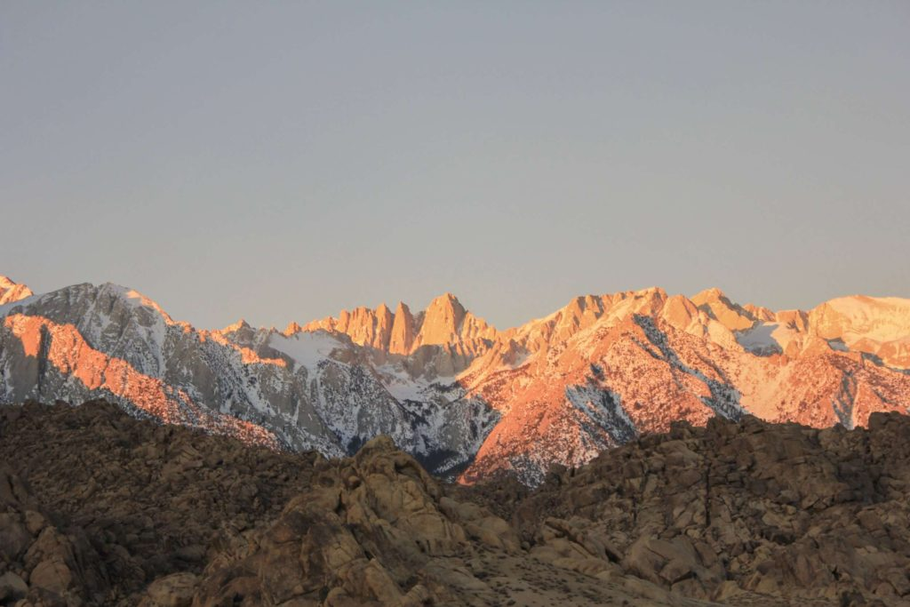 Sunrise over Mt. Whitney from Alabama Hills California