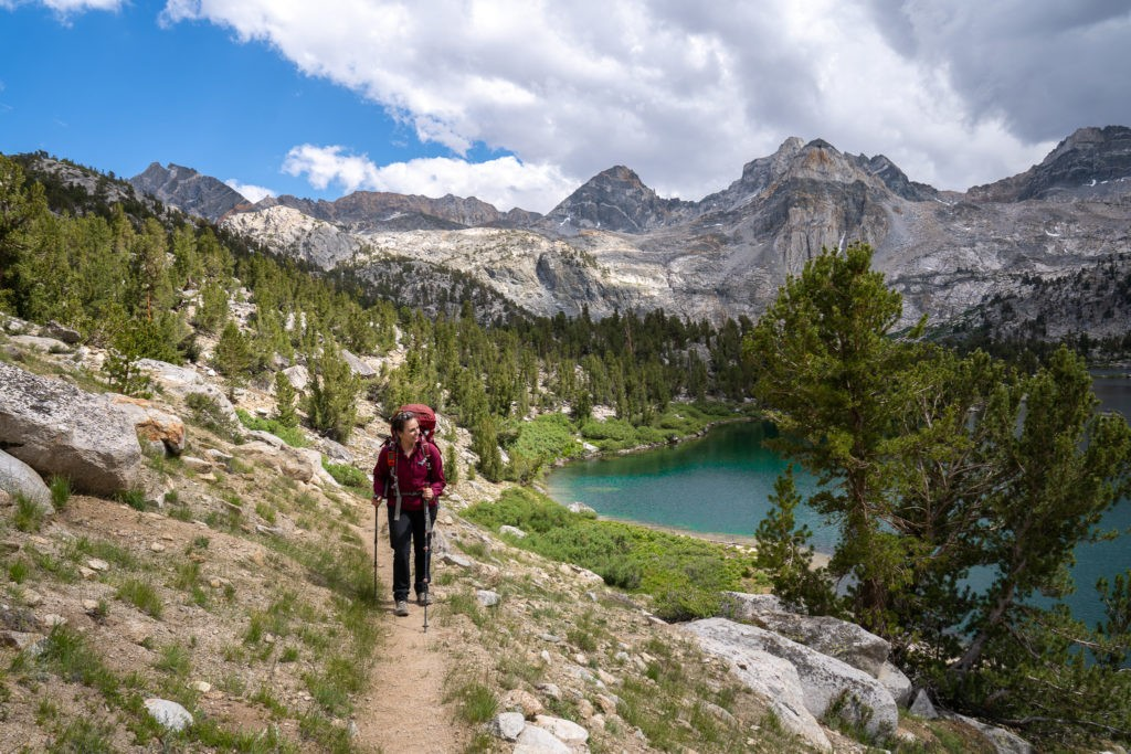 woman hiking in the mountains in california